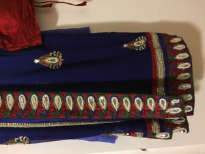 Royal blue designer saree with contrast blouse