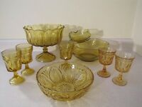 9 Pieces Vintage Golden Amber Dishes $30.00