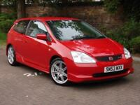 EXCELLENT EXAMPLE!!! 2003 RED HONDA CIVIC 2.0 TYPE R, ONLY 65000 MILES, FSH,