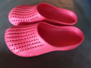 Pink plastic slip on garden yard casual shoes similar to Crocs