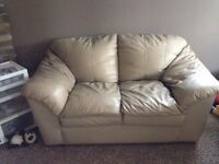 Three piece set leather couches