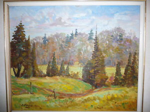 "Peter Stoyan (Stoyanoff) ""Sunlit Fields"" 1951 Original Oil Paint Stratford Kitchener Area image 2"