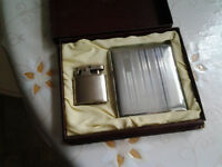 1950's Antique Silver Cigarette case with matching lighter set