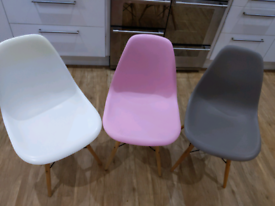 3 Eames Inspired Dining Chairs Pink/Grey/White