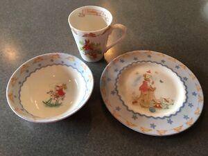 Royal Doulton Bunnykins Blue Bowl, Plate & Cup