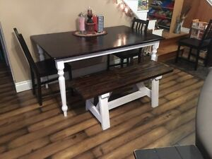 Solid spruce farmhouse style dining bench