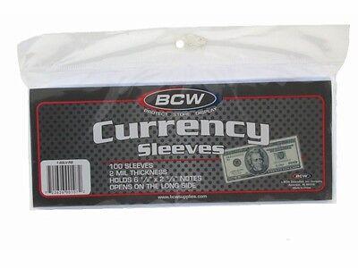 BCW Currency Sleeves - Regular Bill, 100 pack