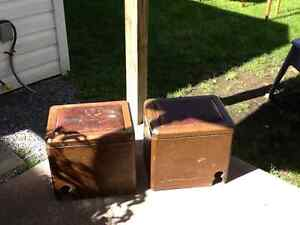 Pair of Copper Fireplace Boxes with Old Oil Cans Inside 1920/30
