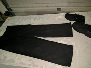 Boys black dress shoes, pants and shirt