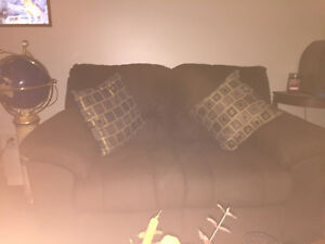 Love Seat and matching chair - dark brown