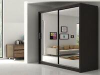 ===SAME DAY FAST DELIVERY=== Brand New Berlin Full Mirror 2 Door Sliding Wardrobe in Black&White