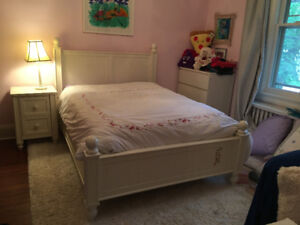 Pottery Barn Kid's Double Bed with Side Table and Lamp