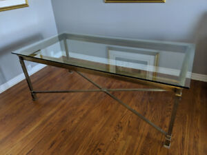 Large dining table (glass & solid brass)