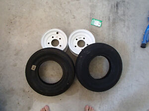 5 bolt trailer rims with 2 new tires Kawartha Lakes Peterborough Area image 2