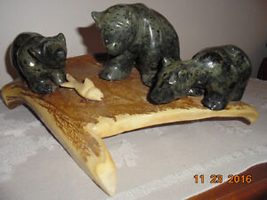 THREE BEARS SOAP STONE CARVINGS-PRICE REDUCED