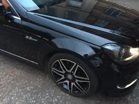 "18"" Mercedes AMG diamond cut Alloy wheels - off C63 + continental Tyres"