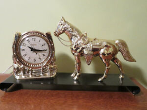 Gold Horse/ Horseshoe Mantel, Desktop Clock by Snider Mfg.