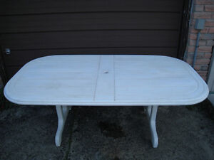 Large Plastic Patio Table with Folding legs in good condition