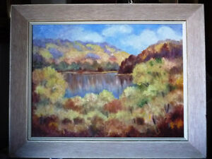 "Vintage Laurentian Oil by George Wakeling ""On The Lievre"" 1962 Stratford Kitchener Area image 1"