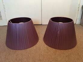 Pair of purple lampshades