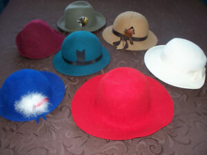 7 Assorted Vintage felt hats