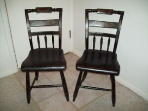 ANTIQUE ORIGINAL PAINT SIGHNED  CHAIRS RARE FIND FULL WOOD SEATS