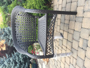2 new woven wicker/rattan stacking patio chairs