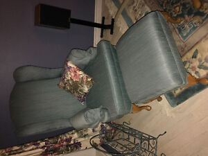High back wing chair with ottoman