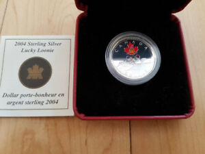 2004 Canada Proof Sterling Silver $1 Dollar Coin - Olympic Lucky