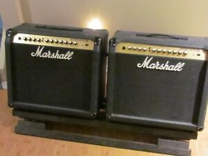Dual Marshall Combos with angled double amp stand