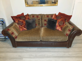 Dfs leather & fabric sofa bed