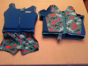 Swim school toddler life jacket bathing suit.