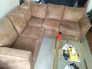 Large Beige Faux Suede Sectional Couch (CHEAP, MUST GO!)