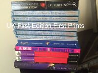 Job lot of Harry Potter books, audiobooks,stamps & cards