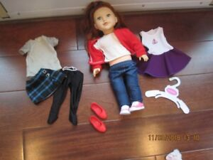 """18"""" doll and two outfits"""