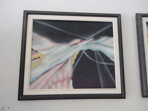Set of 2 black framed abstract print wall hanging decorative London Ontario image 7