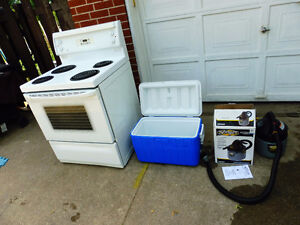 WHITE ELECTRICAL STOVE, 1xl COOLER, giant shop vac, I DELIVER