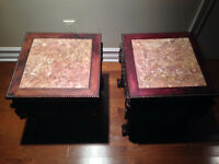 2 Wood and marble Side tables