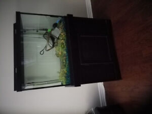65 Gallon Aquarium With Black Cabinet And Accessories
