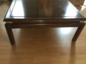 Square Cherry Wood Coffee Table, Brass Corners