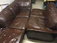 3 + 2 brown Leather Sofa