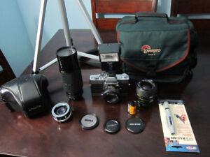 Minolta SRT SC-II Film Camera 3 Lenses, Flash, Bag, Film, Tripod
