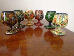 6 verres en bois russe U.R.SS , peinte à la main  khokhloma