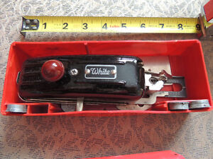 White Button Hole Maker, attatchments  and 2 cases London Ontario image 4