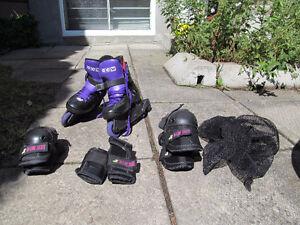 patin à roue alignesccm avec 2 kit de protection noir 7
