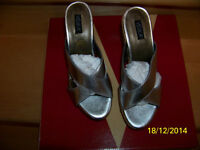 velika women's shoes or sandals color silver leather new in box
