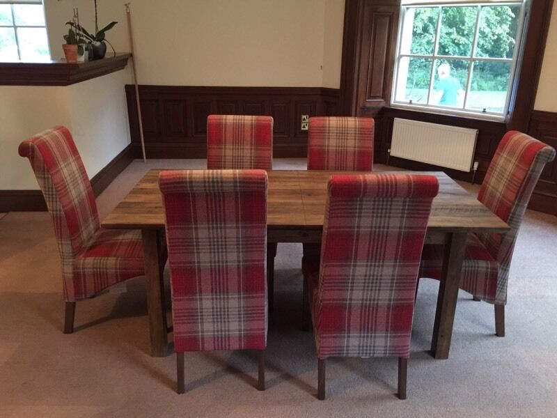 Next Dining Furniture Chiltern Extending Table And 6 Harlow Chairs In Sterling Red