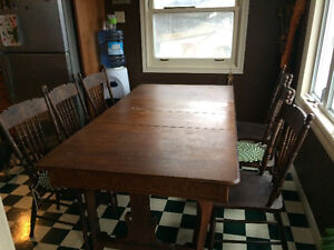 Antique Table with six chairs