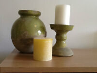 Green Tuscan Urn and Candlestick