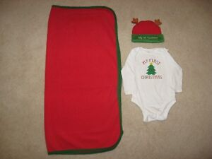 Baby's First Christmas Blanket, Onesie And Hat